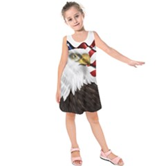 American Eagle Flag Sticker Symbol Of The Americans Kids  Sleeveless Dress