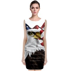 American Eagle Flag Sticker Symbol Of The Americans Sleeveless Velvet Midi Dress