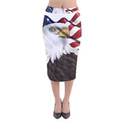 American Eagle Flag Sticker Symbol Of The Americans Velvet Midi Pencil Skirt