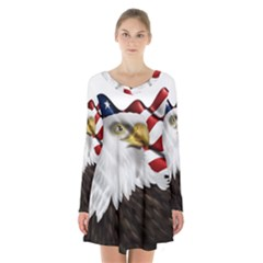 American Eagle Flag Sticker Symbol Of The Americans Long Sleeve Velvet V Neck Dress