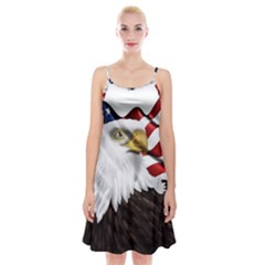 American Eagle Flag Sticker Symbol Of The Americans Spaghetti Strap Velvet Dress
