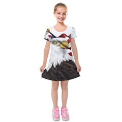 American Eagle Flag Sticker Symbol Of The Americans Kids  Short Sleeve Velvet Dress