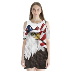 American Eagle Flag Sticker Symbol Of The Americans Shoulder Cutout Velvet  One Piece