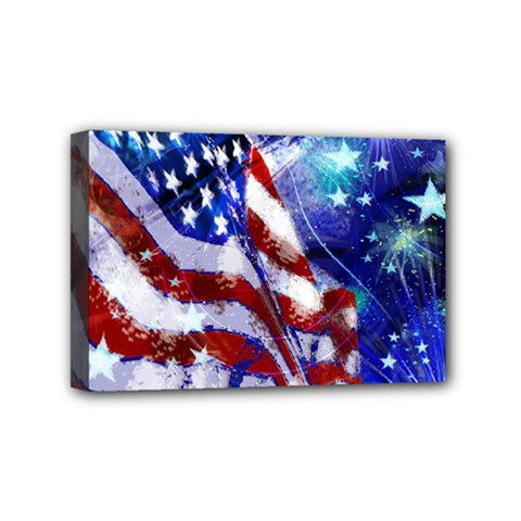 American Flag Red White Blue Fireworks Stars Independence Day Mini Canvas 6  X 4