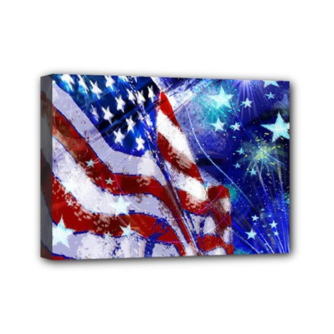 American Flag Red White Blue Fireworks Stars Independence Day Mini Canvas 7  X 5