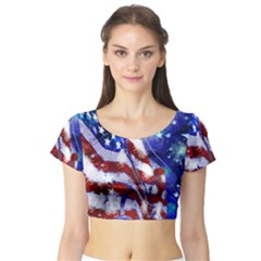 American Flag Red White Blue Fireworks Stars Independence Day Short Sleeve Crop Top (tight Fit)