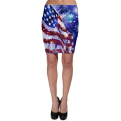 American Flag Red White Blue Fireworks Stars Independence Day Bodycon Skirt
