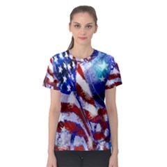 American Flag Red White Blue Fireworks Stars Independence Day Women s Sport Mesh Tee