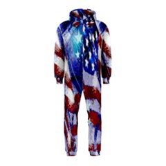 American Flag Red White Blue Fireworks Stars Independence Day Hooded Jumpsuit (kids)