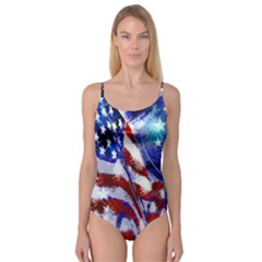 American Flag Red White Blue Fireworks Stars Independence Day Camisole Leotard