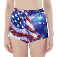 American Flag Red White Blue Fireworks Stars Independence Day High-Waisted Bikini Bottoms