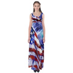 American Flag Red White Blue Fireworks Stars Independence Day Empire Waist Maxi Dress