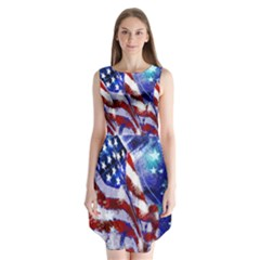 American Flag Red White Blue Fireworks Stars Independence Day Sleeveless Chiffon Dress