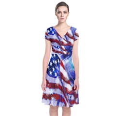 American Flag Red White Blue Fireworks Stars Independence Day Short Sleeve Front Wrap Dress
