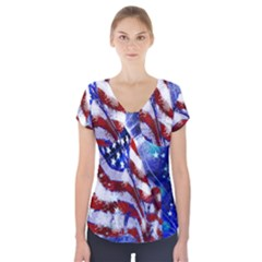 American Flag Red White Blue Fireworks Stars Independence Day Short Sleeve Front Detail Top