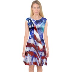 American Flag Red White Blue Fireworks Stars Independence Day Capsleeve Midi Dress