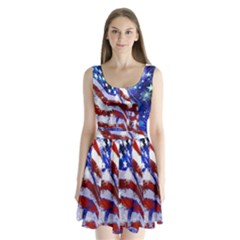 American Flag Red White Blue Fireworks Stars Independence Day Split Back Mini Dress