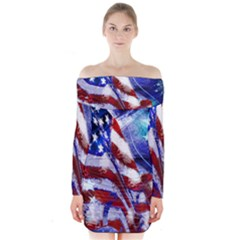 American Flag Red White Blue Fireworks Stars Independence Day Long Sleeve Off Shoulder Dress