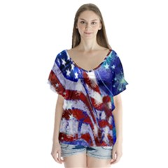 American Flag Red White Blue Fireworks Stars Independence Day Flutter Sleeve Top