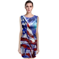 American Flag Red White Blue Fireworks Stars Independence Day Sleeveless Velvet Midi Dress