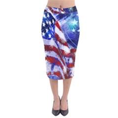American Flag Red White Blue Fireworks Stars Independence Day Velvet Midi Pencil Skirt