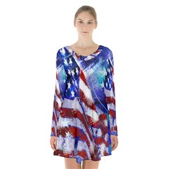 American Flag Red White Blue Fireworks Stars Independence Day Long Sleeve Velvet V Neck Dress