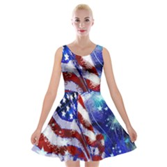 American Flag Red White Blue Fireworks Stars Independence Day Velvet Skater Dress