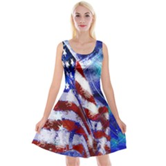 American Flag Red White Blue Fireworks Stars Independence Day Reversible Velvet Sleeveless Dress