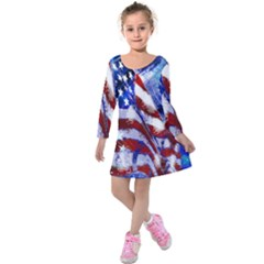 American Flag Red White Blue Fireworks Stars Independence Day Kids  Long Sleeve Velvet Dress