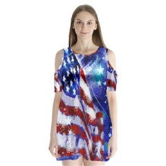 American Flag Red White Blue Fireworks Stars Independence Day Shoulder Cutout Velvet  One Piece