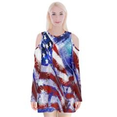 American Flag Red White Blue Fireworks Stars Independence Day Velvet Long Sleeve Shoulder Cutout Dress