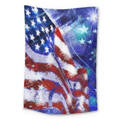 American Flag Red White Blue Fireworks Stars Independence Day Large Tapestry