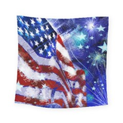 American Flag Red White Blue Fireworks Stars Independence Day Square Tapestry (small)