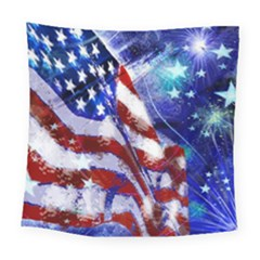 American Flag Red White Blue Fireworks Stars Independence Day Square Tapestry (Large)