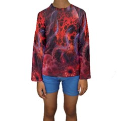 Art Space Abstract Red Line Kids  Long Sleeve Swimwear