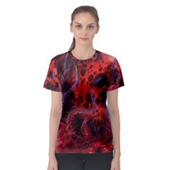 Art Space Abstract Red Line Women s Sport Mesh Tee