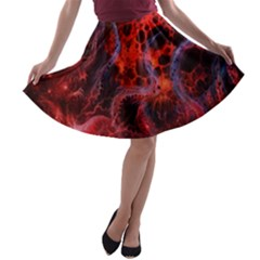 Art Space Abstract Red Line A Line Skater Skirt