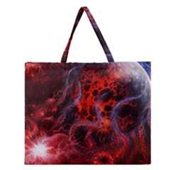 Art Space Abstract Red Line Zipper Large Tote Bag