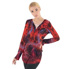 Art Space Abstract Red Line Women s Tie Up Tee