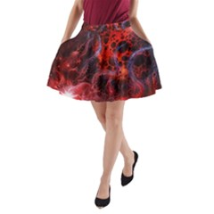 Art Space Abstract Red Line A-Line Pocket Skirt