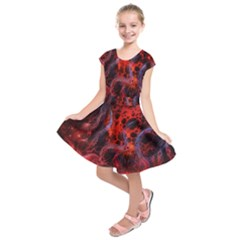 Art Space Abstract Red Line Kids  Short Sleeve Dress