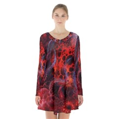 Art Space Abstract Red Line Long Sleeve Velvet V Neck Dress