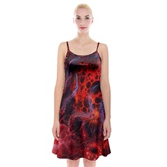 Art Space Abstract Red Line Spaghetti Strap Velvet Dress