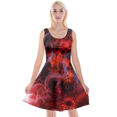 Art Space Abstract Red Line Reversible Velvet Sleeveless Dress