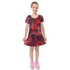 Art Space Abstract Red Line Kids  Short Sleeve Velvet Dress