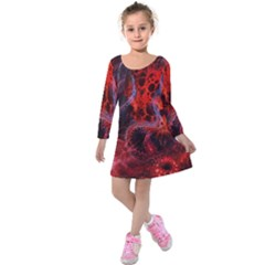 Art Space Abstract Red Line Kids  Long Sleeve Velvet Dress
