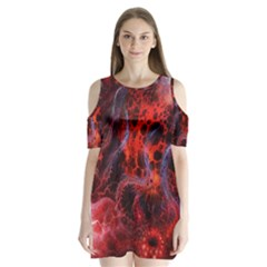 Art Space Abstract Red Line Shoulder Cutout Velvet  One Piece