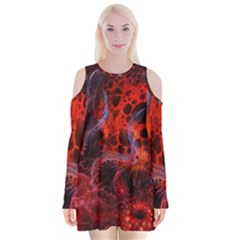 Art Space Abstract Red Line Velvet Long Sleeve Shoulder Cutout Dress
