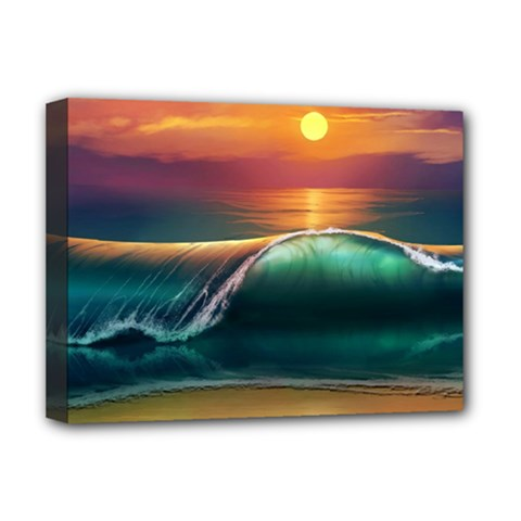 Art Sunset Beach Sea Waves Deluxe Canvas 16  X 12