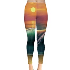 Art Sunset Beach Sea Waves Leggings